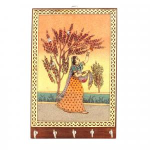 G/ S KEY HOLDER STANDING LADY WITH FLOWER TREE