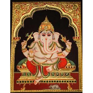 22ct Gold Handmade Lord Ganesha Sitting Tanjore Painting