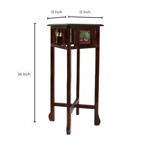 GREEN MARBLE TOPPED WOODEN STOOL WITH TANJORE PAINTING