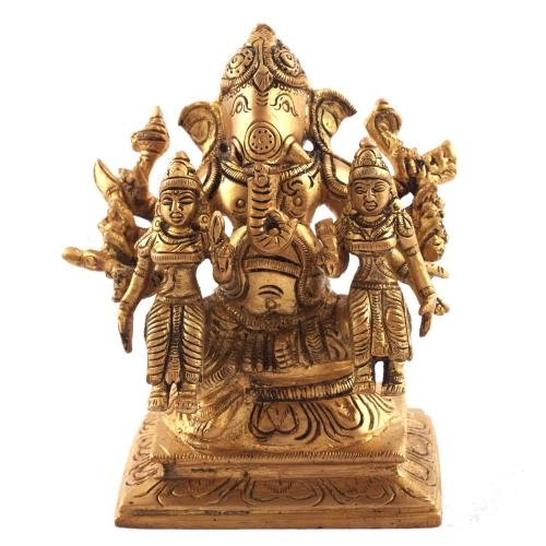 GANESHA 10 HANDS SITTING WITH SIDDHI BUDDHI