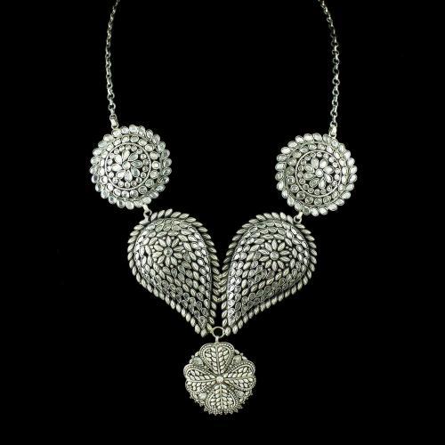 Oxidized Polki Necklace