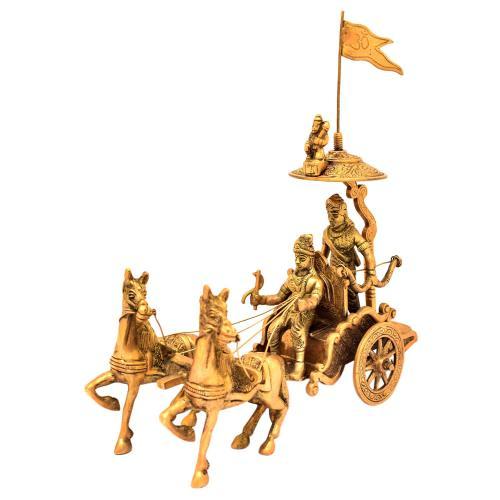 BRASS ARJUN RATHA WITH 2 HORSE