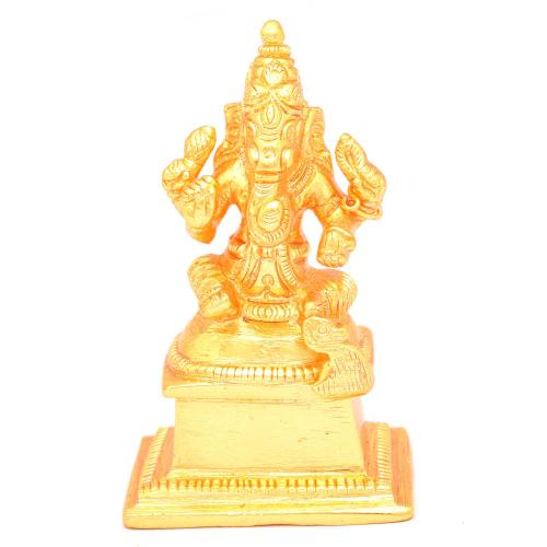 BRASS GANESHA SITTING WITH BASE