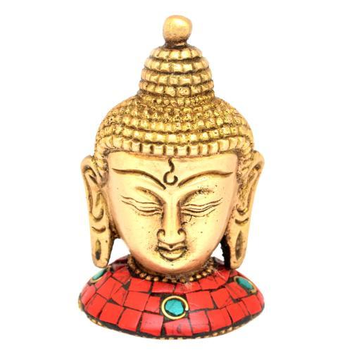 BRASS BUDDHA HEAD WITH STONE WORK