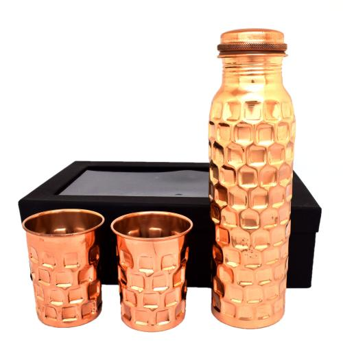COPPER BOTTLE WITH GLASS(1 BOTTEL AND 2 GLASS SET)