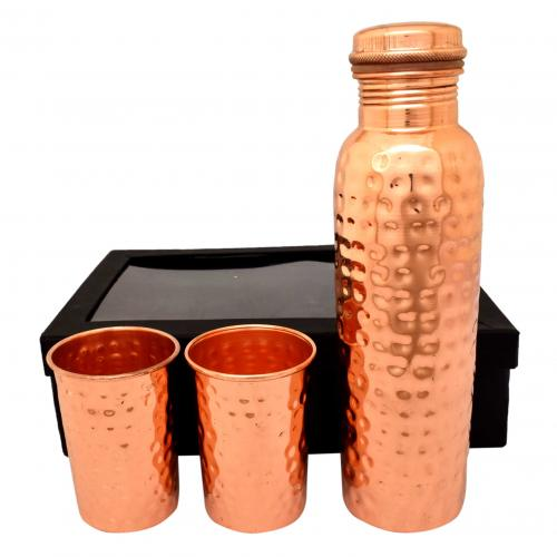 COPPER WATER BOTTLE(1 BOTTLE WITH 2 GLASS)