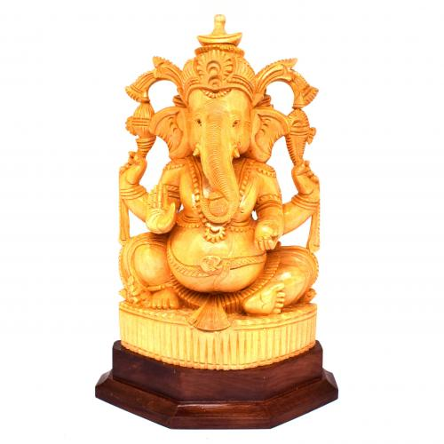 WHITEWOOD GANESHA SITTING