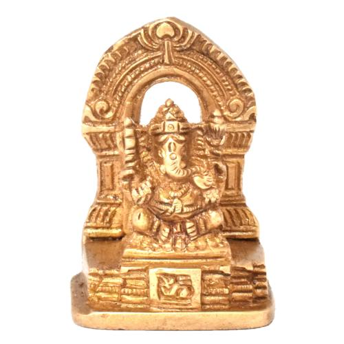 BRASS GANESHA SITTING ON DESIGNER BASE
