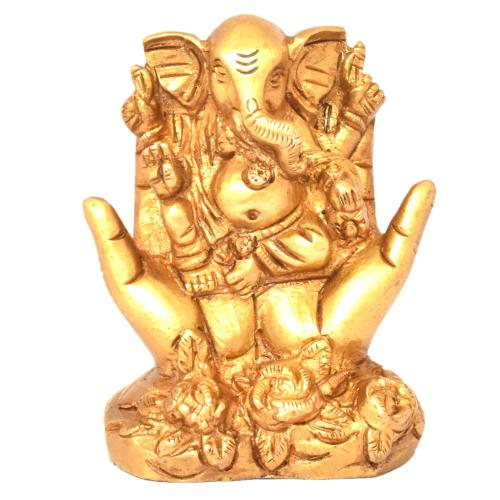 BRASS GANESHA SITTING ON HAND