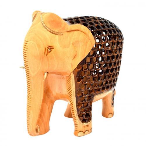 WHITE WOOD ELEPHANT CARVING