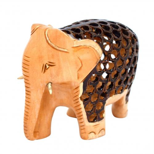 WHITE WOOD ELEPHANT WITH JALI AQ