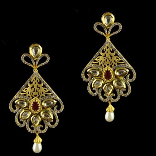 Silver Gold Plated Antique Design Earring Studded Zircon Stones