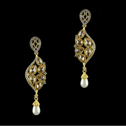 Silver Gold Plated Antique Design Earring Studded Zircon Stones And Pearls