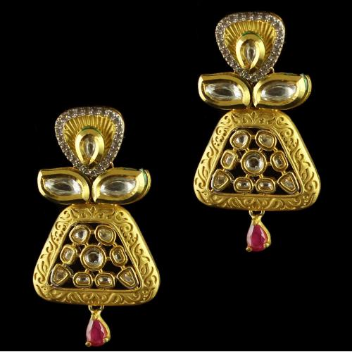 Silver Gold Plated Antique Design Earring Studded Zircon Stones And Red Onyx