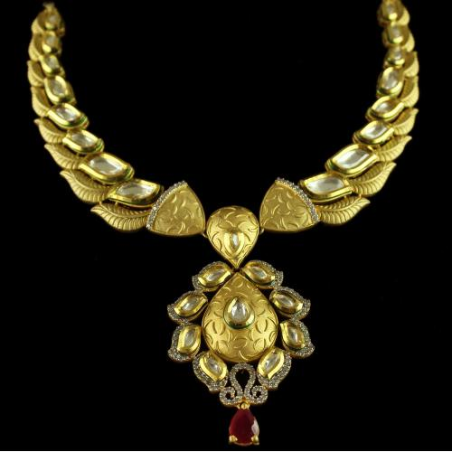 Silver Gold Plated Kundan Antique Necklace Zircon Stones With Red Onyx