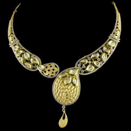 Silver Gold Plated Peacocke design Kundan Studded Zircon Stones