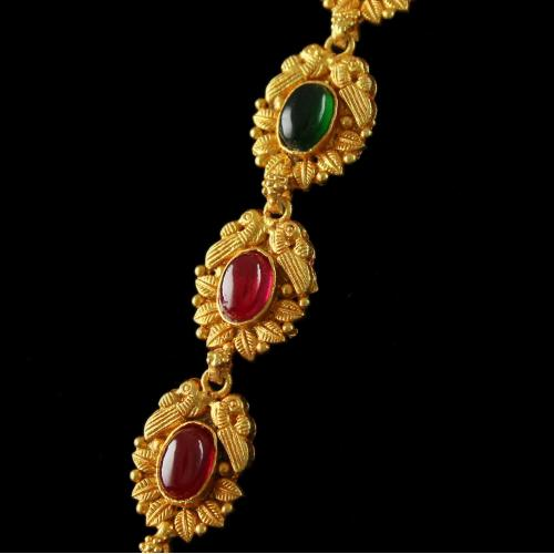 Silver Gold Plated Antique Nagas Long Necklace Studded Red and Green Onyx Stones
