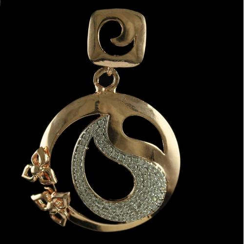 Silver Rose Gold Plated Fancy Floral Design Pendant Studded Zircon Stones