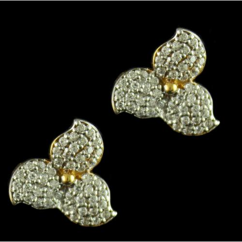 Floral Design Earrings Studded Zircon Stones