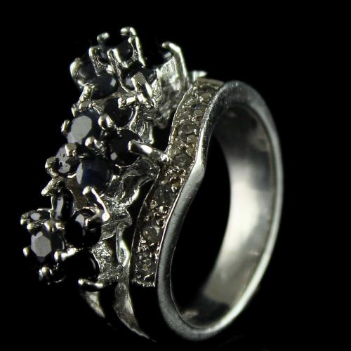 92.5 Sterling Silver oxsided Fancy Design Rings Studded Crystal And Mulity Stones