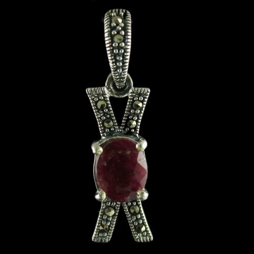 92.5 Sterling Silver Fancy Design Oxided Pendant Studded Cristel And Ruby Stones