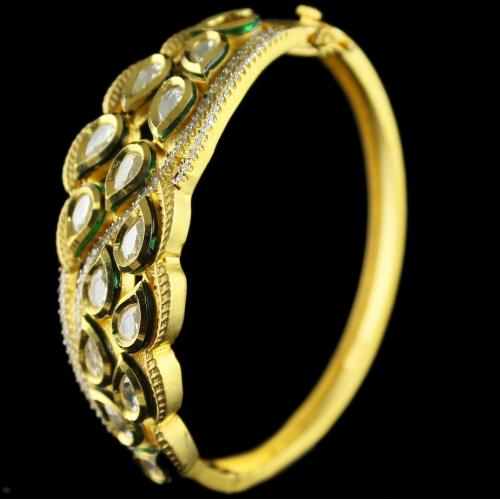 Silver Gold Plated Fancy Design Bangle Studded Zircon Stones