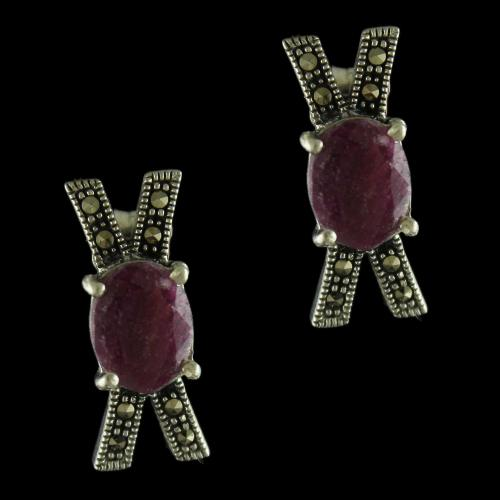 92.5 Sterling Silver Oxidized Casual Earrings Studded  Crystal And Ruby Stones