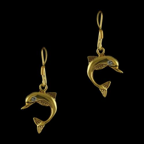 92.5 Sterling Silver Gold Plated Fish Design Hanging Earrings