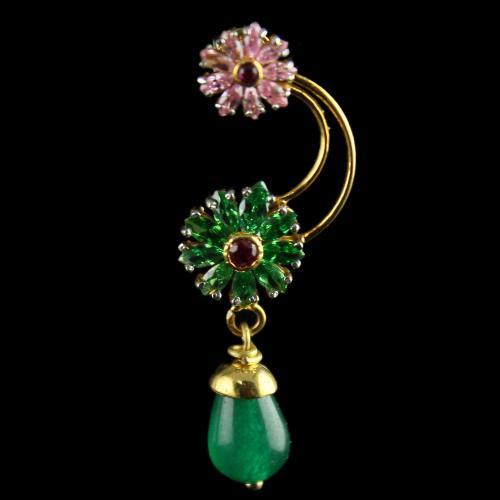 18 Karat Gold Fancy Design Casual Earrings Studded Zircon Stones