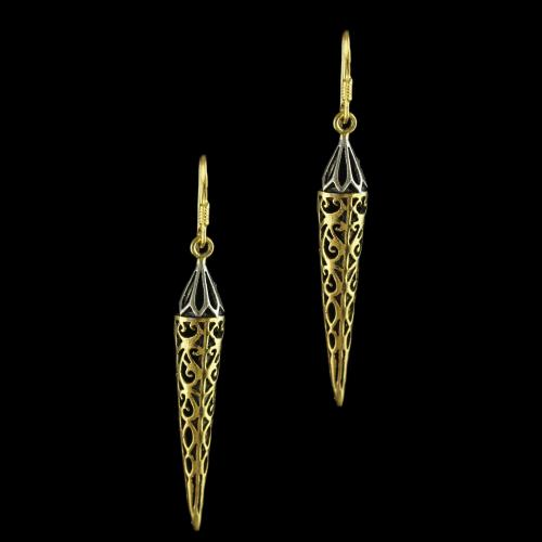 92.5 Gold Plated Fancy Design Hanging Earrings