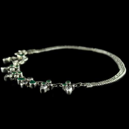 92.5 Oxidized Silver Fancy Design Anklets Studded Zircon Stones