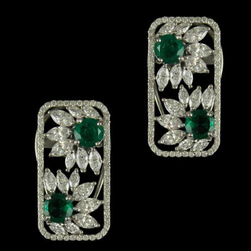 92.5 Sterling Silver Fancy Earrings Studded sworvski Zircon Stones