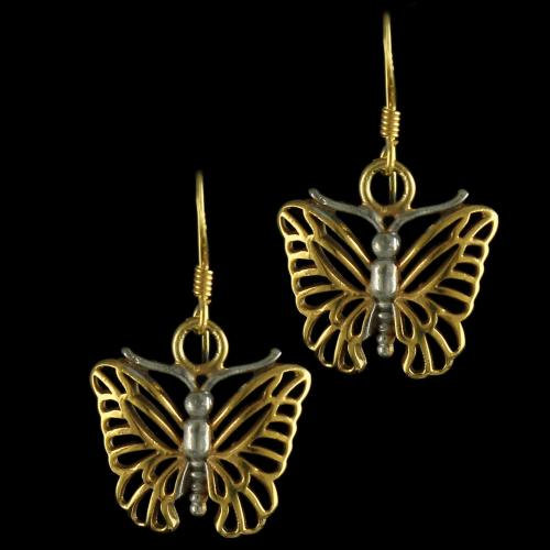 92.5 Gold Plated Butterfully Design Hanging Earrings