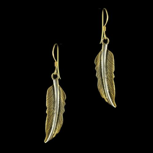 92.5 Gold Plated Silver Leaf Design Hanging Earrings