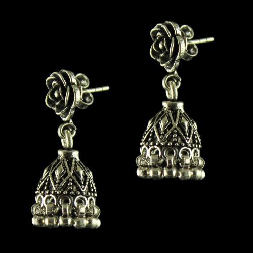 92.5 Oxidized Floral Design Jhumka Earrings