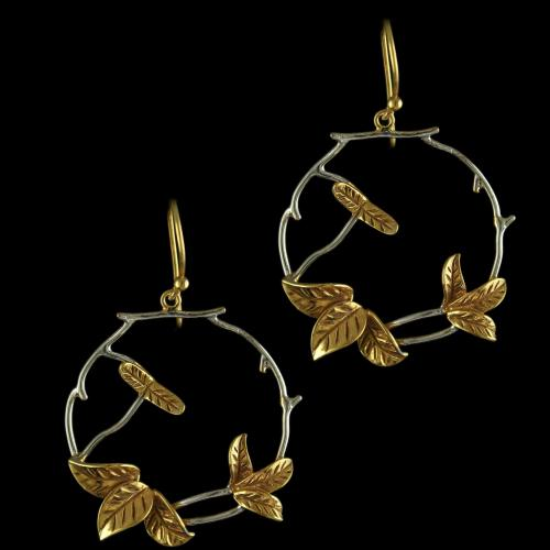 92.5 Sterling Silver Gold Plated Floral Design Hanging Earrings