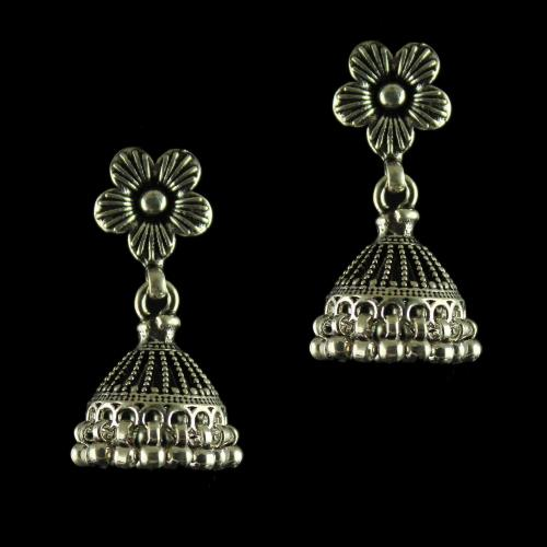 92.5 Silver Antique Fancy Design Jhumka Earrings