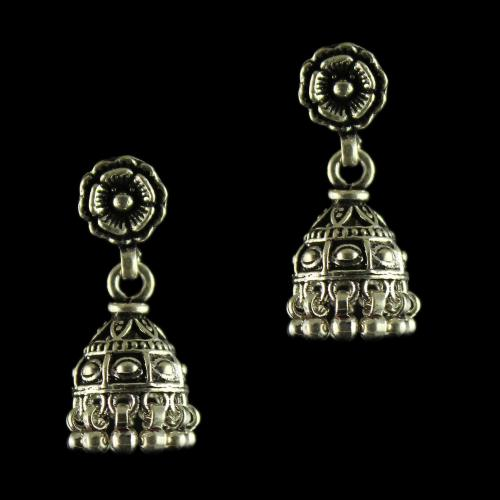92.5 Sterling Oxidized Silver Floral Design Jhumka Earrings