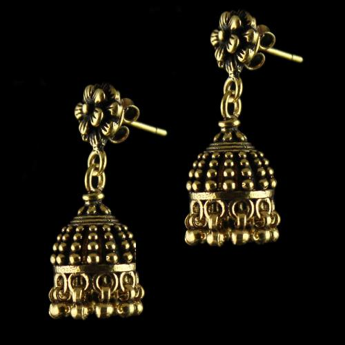 92.5 Sterling Silver Gold Plated  Floral Design Jhumka Earrrings