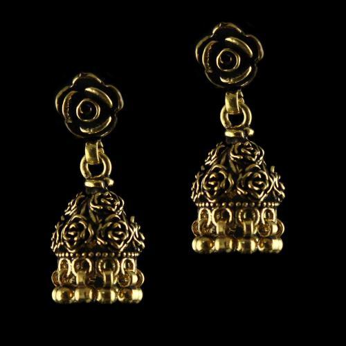 92.5 Silver Fancy Antique Design Jhumka Earrings