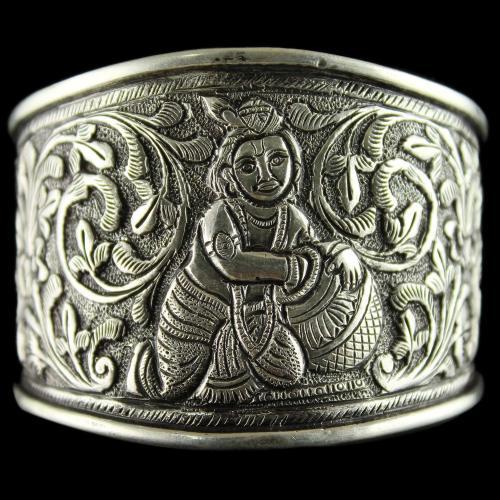 92.5 Sterling Silver Oxizided  Antique God  Design Kada Bangle