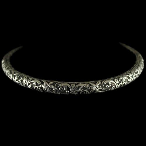 92.5 Sterling Silver Oxizided  Antique Design Kada Bangle