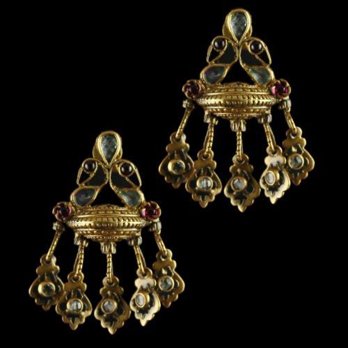 92.5 Silver Gold Plated Fancy Design Earrings Studded Kundan Stones