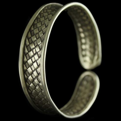 Silver Oxidized Fancy Design Kada Bangle