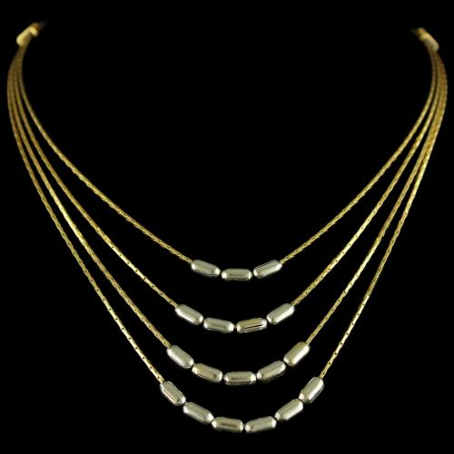 Silver Gold Plated Fancy Design 3 Line Necklace