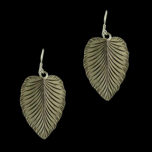 Silver Oxidized Leaf Design Hanging Earrings