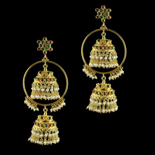 GOLD PLATED RUBY EMERALD EARRINGS WITH PEARLS