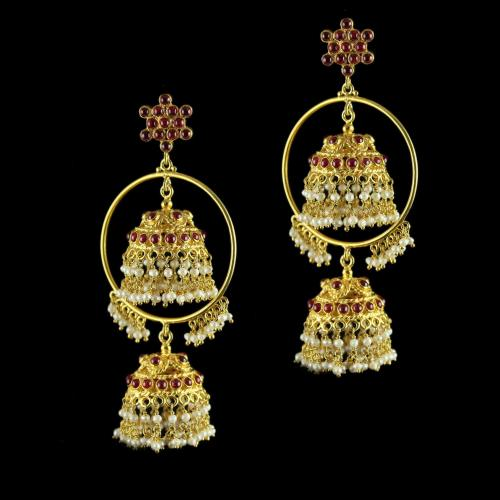 Silver Gold Plated Jhumka  Earrings Studded Red, Green Onyx And Pearl