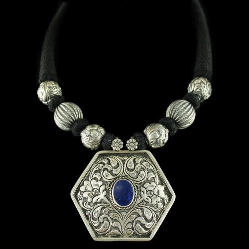Silver Oxidized Floral Design Thread Necklace