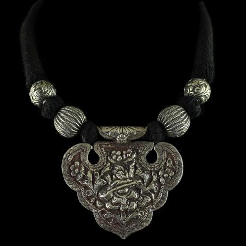 Silver Oxidized Fancy Design Thread Necklace